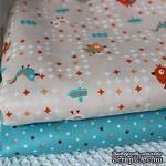 Хлопок, бирюзовые и оранжевые птички на бежевом фоне, 50х40см - ScrapUA.com
