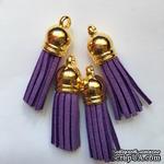 Подвеска - Кисточка из замши с золотым наконечником, 35х10 мм, цвет фиолетовый - ScrapUA.com