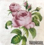 """Салфетка """"Ветка розы"""", цвет фона: кремовый, размер: 25х25 см - ScrapUA.com"""