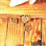 """Металлическое украшение """"Сердечко с надписью """"Hand made with love"""""""", 15х12 мм, 1 шт. - ScrapUA.com"""