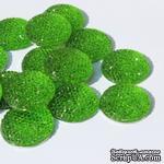 Кабошон со стразами, цвет зеленый, 24х6мм, 1 шт. - ScrapUA.com