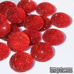 Кабошон со стразами, цвет красный, 24х6мм, 1 шт. - ScrapUA.com