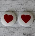 Тканевые топсы от  Allmacraft - серия Тематические, Сердечко, диаметр 2,5 см, 2 штуки - ScrapUA.com