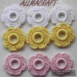 Вязаный мотив от Allmacraft - цветочки в наборе, белый-желтый-розовый, 2.5 см, 9 шт. - ScrapUA.com